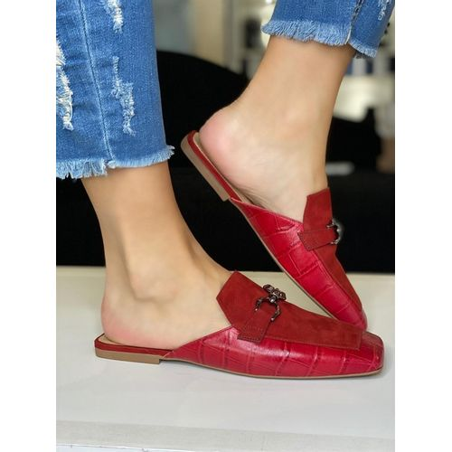 MULE VICENZA NOBUCK / CROCO COLOR RED 35